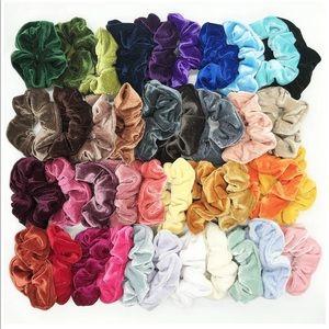 BRAND NEW '90's VELVET HAIR SCRUNCHIES! ties neon